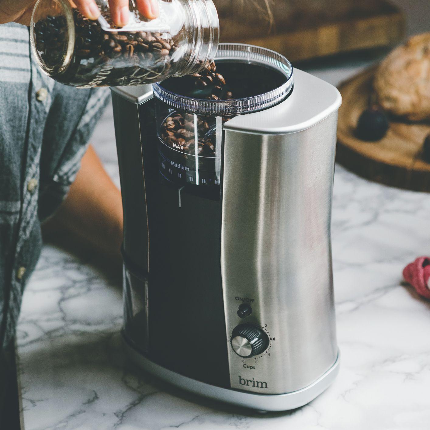 Conical burr grinder brim pour over coffee maker