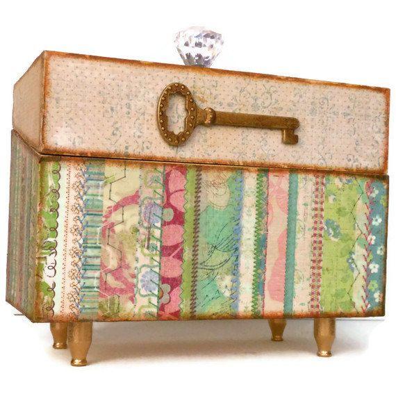 Decorative Recipe Box Wood Box Recipe Card Holder Organizer Storage Antique Key  Recipe