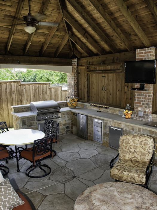 Stamped Concrete Kitchens : Dallas landscape architects outdoor kitchens fireplaces