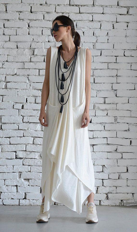 419fa3bc501df8 White Long Dress Asymmetric Maxi Dress Sleeveless Loose Kaftan ...