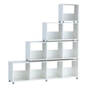 Cubo 10 Cube Corner Footed Shelf White Right Shelves Homewares Online Storage House