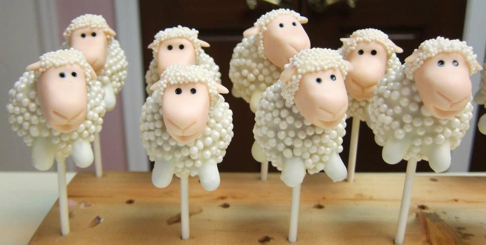 Cake Pop Centerpieces For Baby Shower : Sheep Cake Pops from Layered in Cake Boutique. Made for an ...