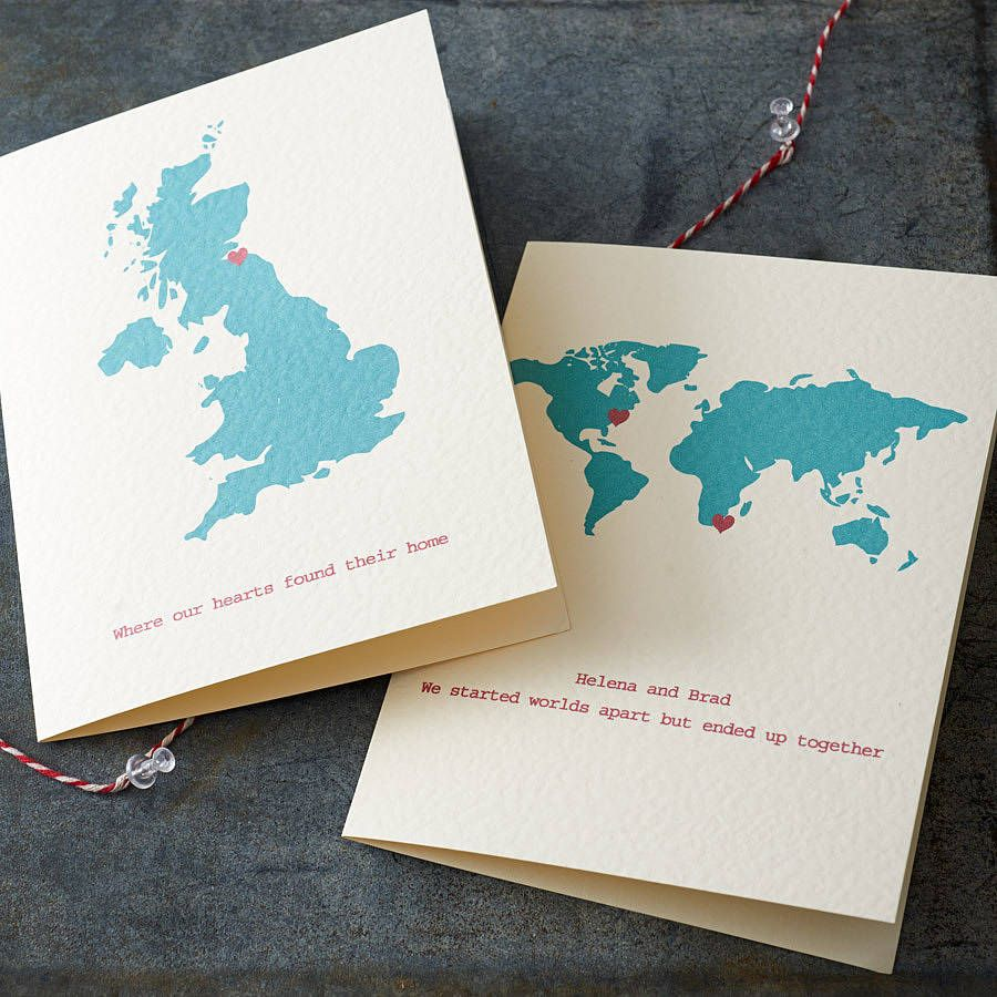Personalised Destination Map Card Cards Stationary And Envelopes