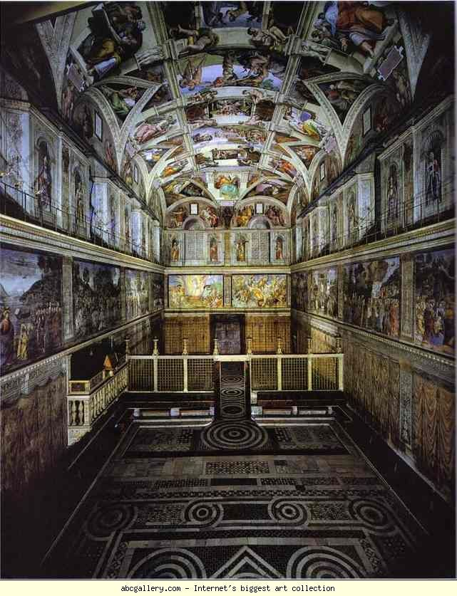 The Interior Of The Sistine Chapel Showing The Ceiling Fresco. Sistine  Chapel,