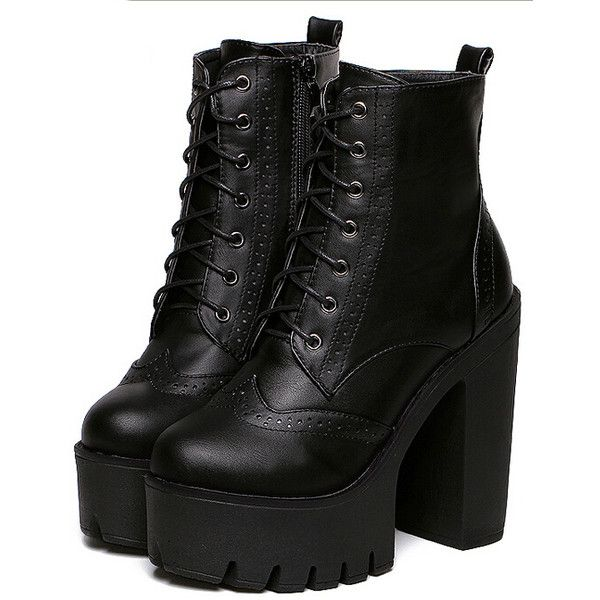 6d048cfd815 Black Chunky High Heel Hidden Platform Casual Boots ( 40) ❤ liked on  Polyvore featuring shoes
