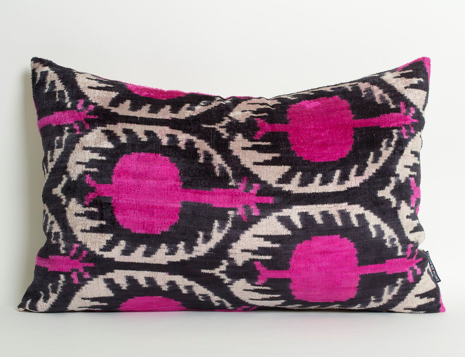 Pink Ikat Pillowcase - Pink Black White Velvet Pillow Decorative