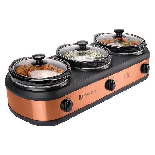 Slow Cooker 3 Crock Set Buffet Server Copper Kitchen Appliance ... on
