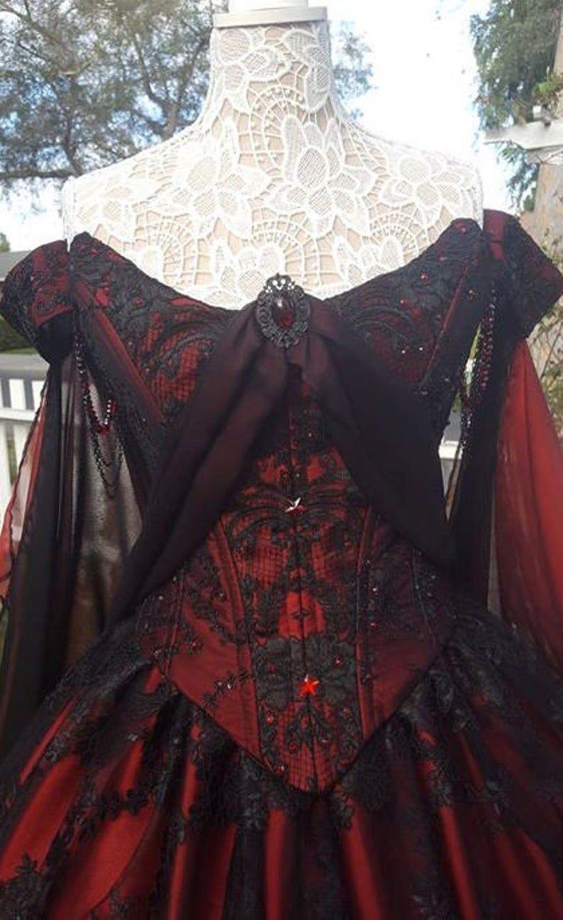 Photo of Gothic Hochzeit Belle rot/schwarze Spitze Fantasy Kleid | Et…