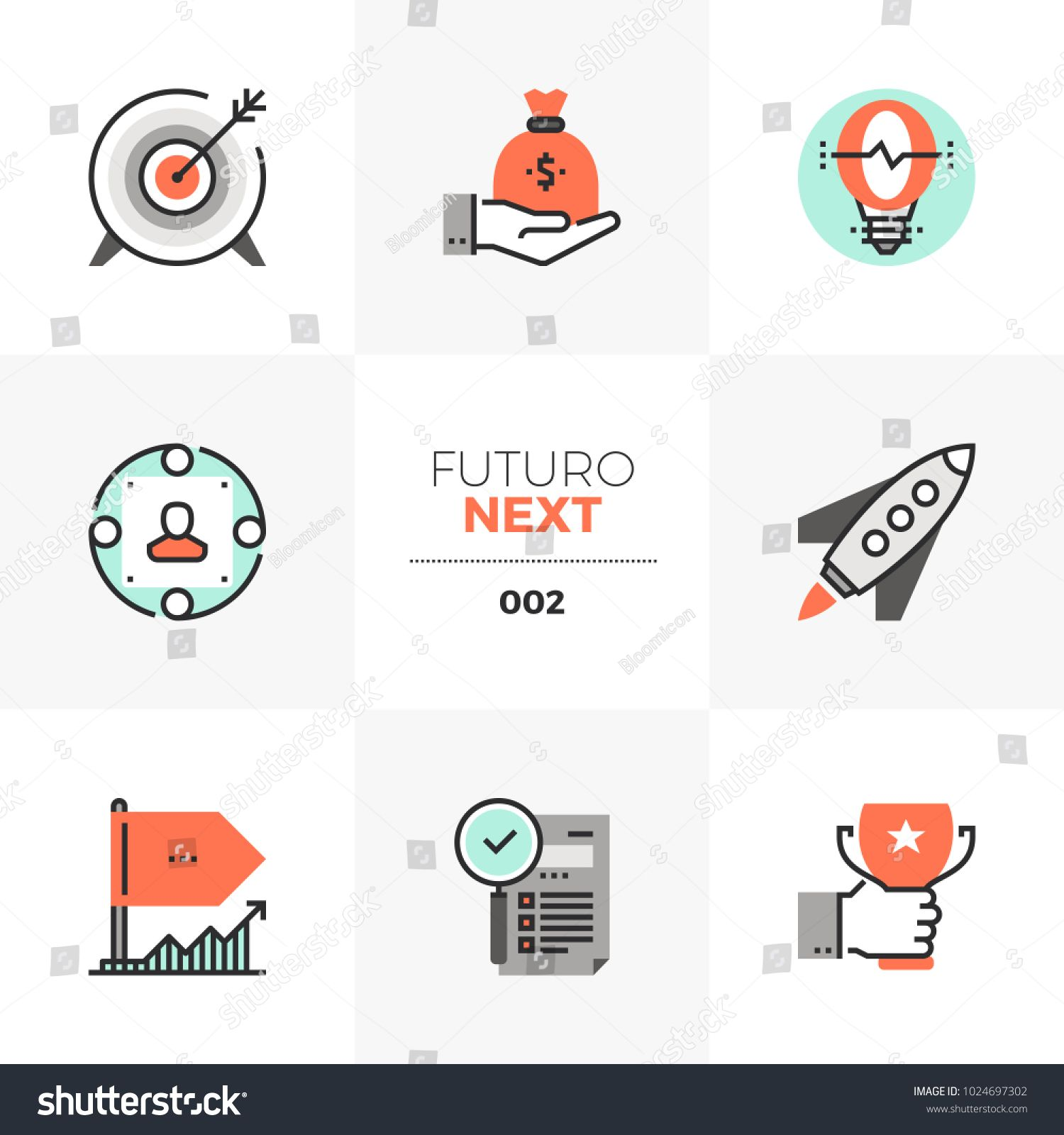 Modern flat icons set of company startup, business goal