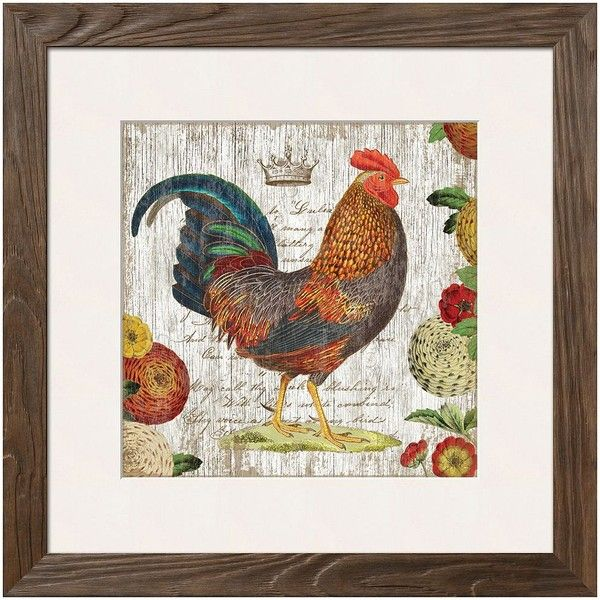 Art.com Rooster I Framed Wall Art ($206) ❤ liked on Polyvore featuring home, home decor, wall art, multicolor, rooster wall art, rooster home decor, vertical wall art, framed wall art and colorful home decor