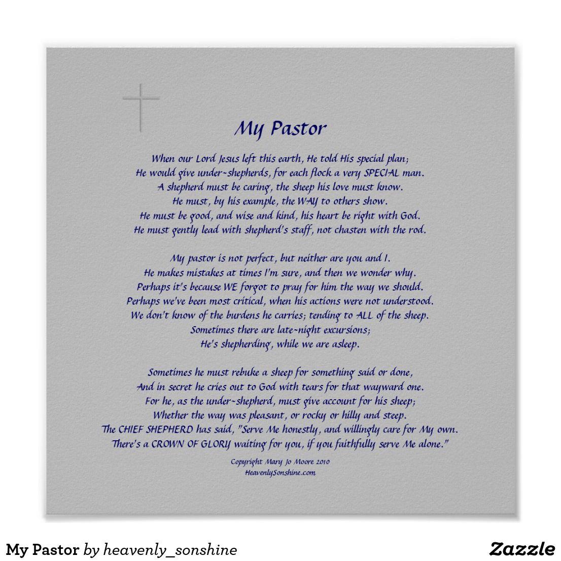 My Pastor Poster | Zazzle.com | Pastor appreciation quotes ...