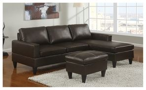 Cannes Reversible Sectional Couch With Free Ottoman In Faux Leather Small Space Sectional Sofa Sectional Sofa With Chaise Sectional Sofa