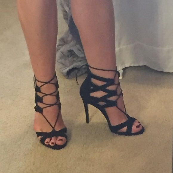 Steve Madden lace up heels Gorgeous lace up heels from Steve Madden - size 10 - worn once - black suede - will negotiate price Steve Madden Shoes Heels