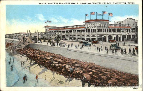Crystal Beach Galveston Texas Beach Boulevard And Seawall Showing Crystal Palace Galveston Texas