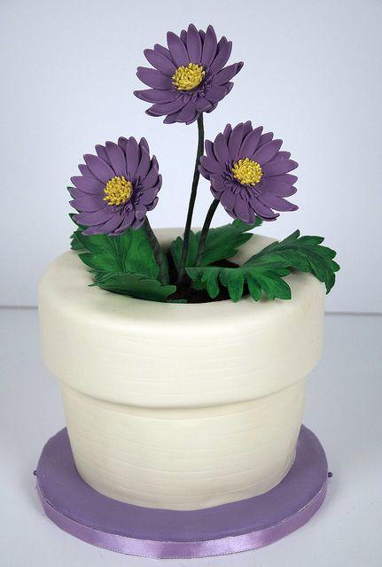 purple daisy flower pot cake toronto by www.fortheloveofcake.ca, via Flickr