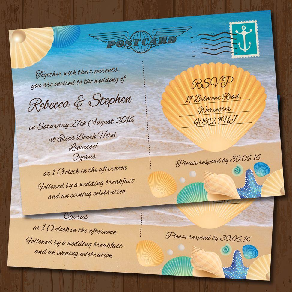 Seaside Beach Postcard Wedding Invitation | postcard invitations ...