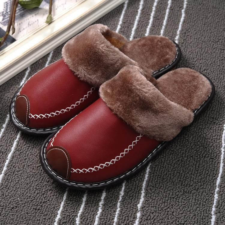 Photo of Winter Women Slippers Leather Home House Indoor Non-Slip Thermal Shoes Men 2019 New Warm Furry Slipp