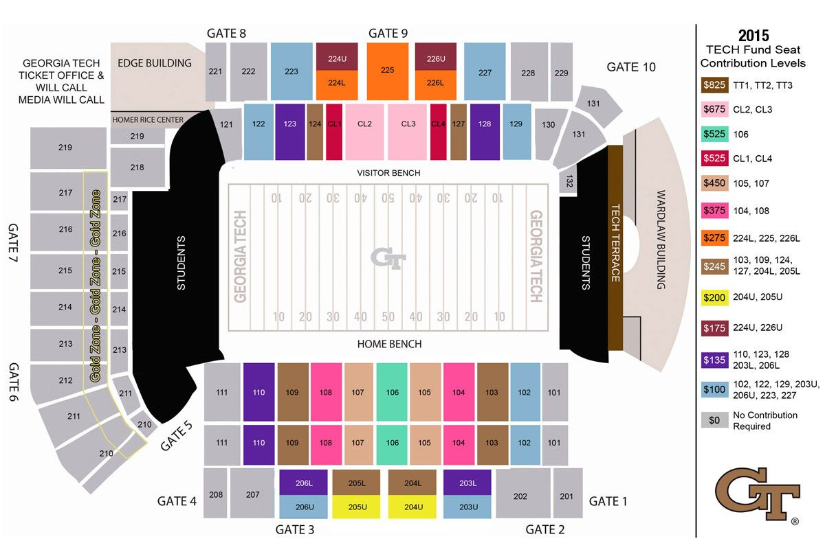 Bobby Dodd Stadium Seating Map 2015 tech
