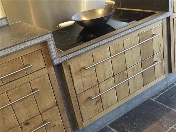 Bijna ongekant hout keuken keuken hout met