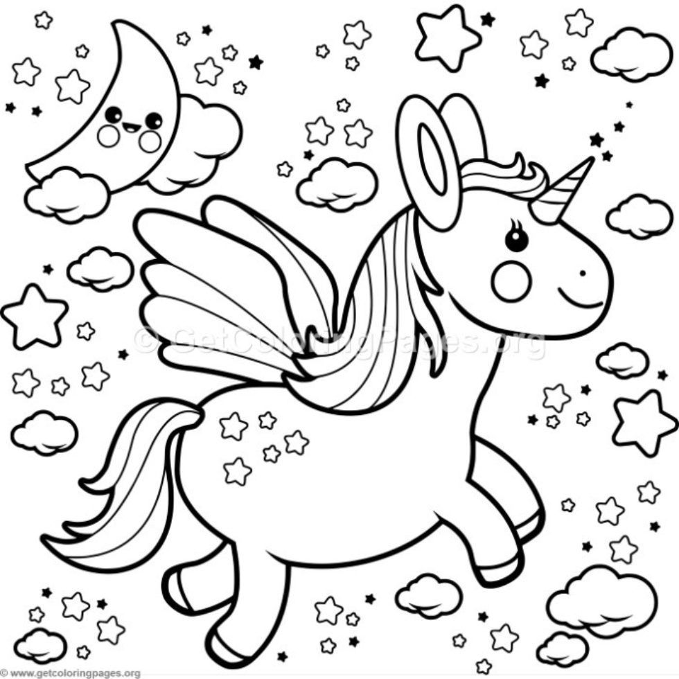 Flying Kawaii Unicorn Coloring Pages Getcoloringpages Org