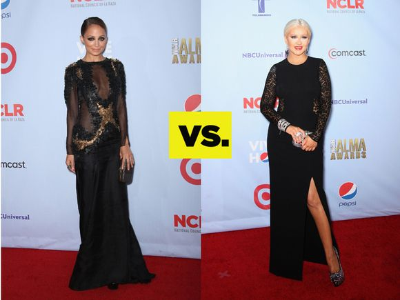 Who Wore It Better? The Lacy Black Gown: Nicole Richie VS. Christina Aguilera