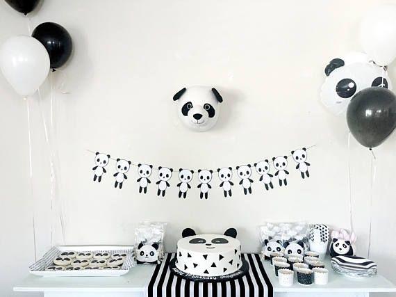 Party Parti Blanc Et De Monochrome Guirlande Panda Noir DW2YH9EI