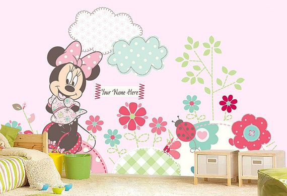 Beautiful Minnie Mouse Wall Mural, Wallpaper, Wall Décor, Wall Decal, Nursery And Room