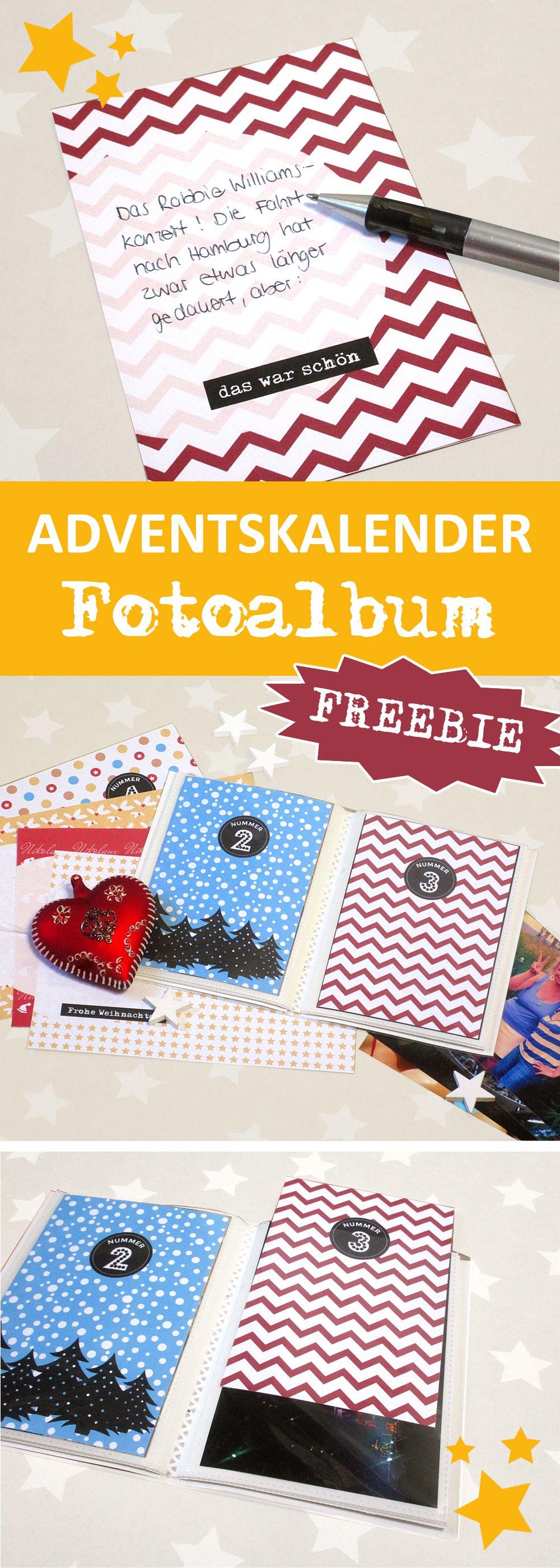 Adventskalender als Fotoalbum und schöner Rückblick aufs Jahr mit Freebies zum Runterladen und schnell selber basteln Diy Geschenke Gutschein