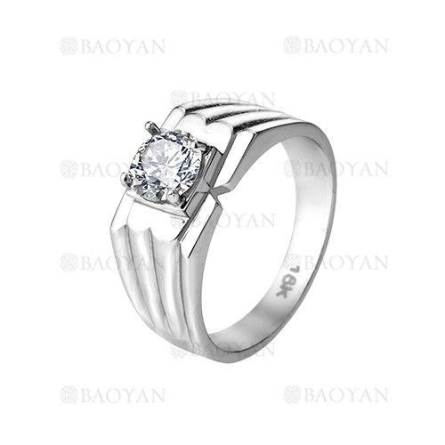 anillo de brillante cristal en acero plateado inoxidable -SSRGG271880