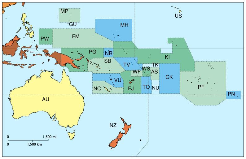 Oceania without Asian country codes - Country code ...