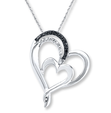 Kay Jewelers DOUBLE HEART NECKLACE DIAMOND ACCENTS STERLING SILVER