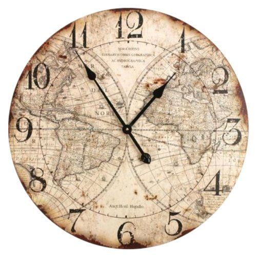 Manual woodworkers weavers world map wall clock 24 inch manual the world map wall clock made of wood features an old world map with a burnt scroll look from manual woodworkers weavers gumiabroncs Image collections