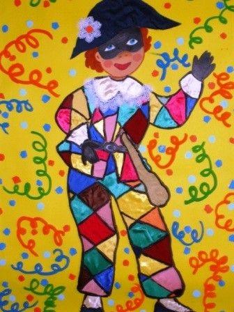 Arlecchino per Carnevale - Lavoretto per bambini con acquerelli!
