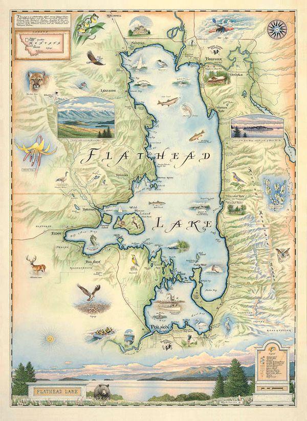 Hand-Drawn Map of Flathead Lake | Posters-Tapestries | Flathead lake ...