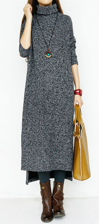 Turtleneck Long Sleeve Plain Women's Maxi Dress #dress #maxi