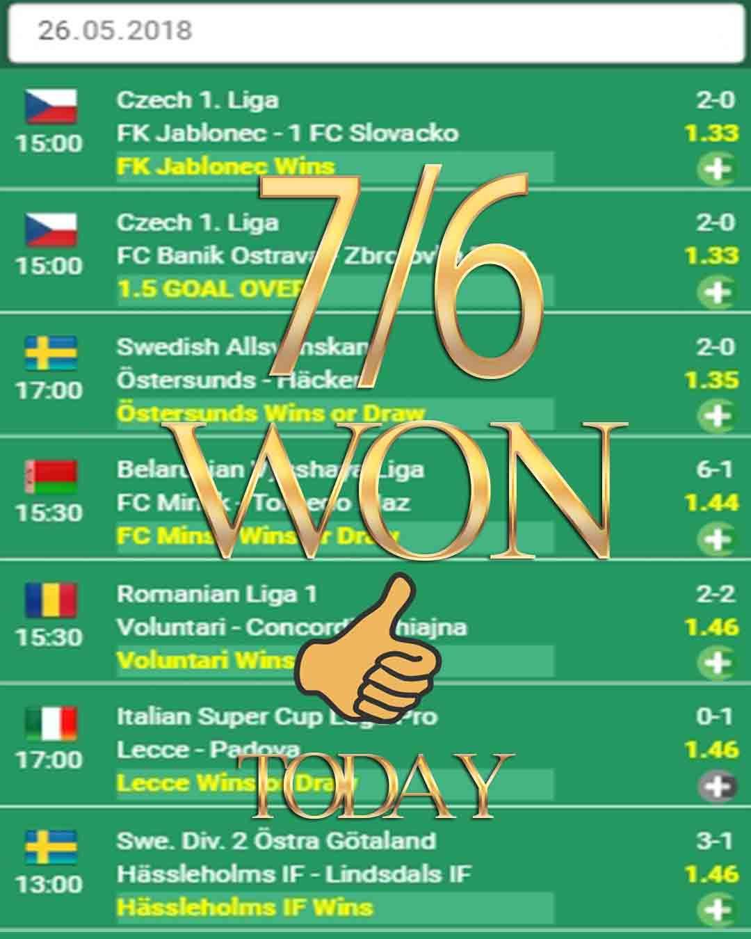 Betting tips 7/6 WON sport bets, sport wetten