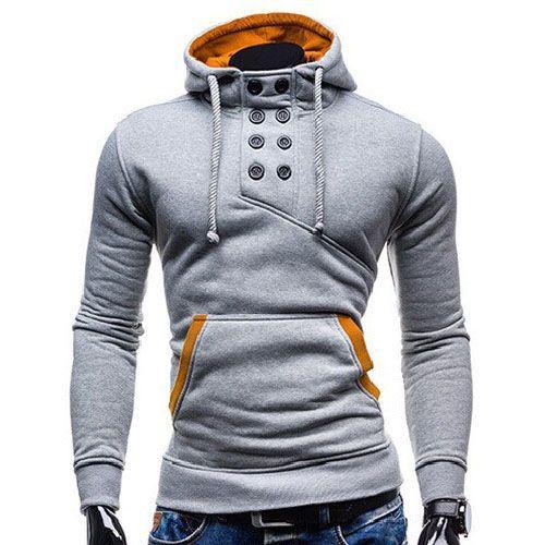 Sweat Hoodie a Capuche Boutons Sportswear