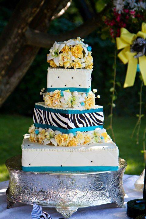 Zebra accent wedding cake