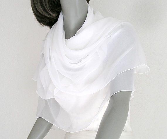 17c0ff20e08 Pure White Bridal Shawl Square Scarf 100% Silk Chiffon Wrap Soft ...
