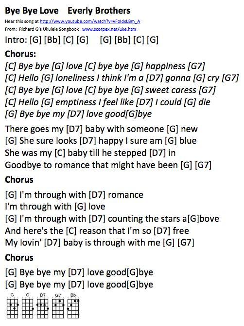 Bye Bye Love Ukulele Chords Ukulele Chords Pinterest Ukulele