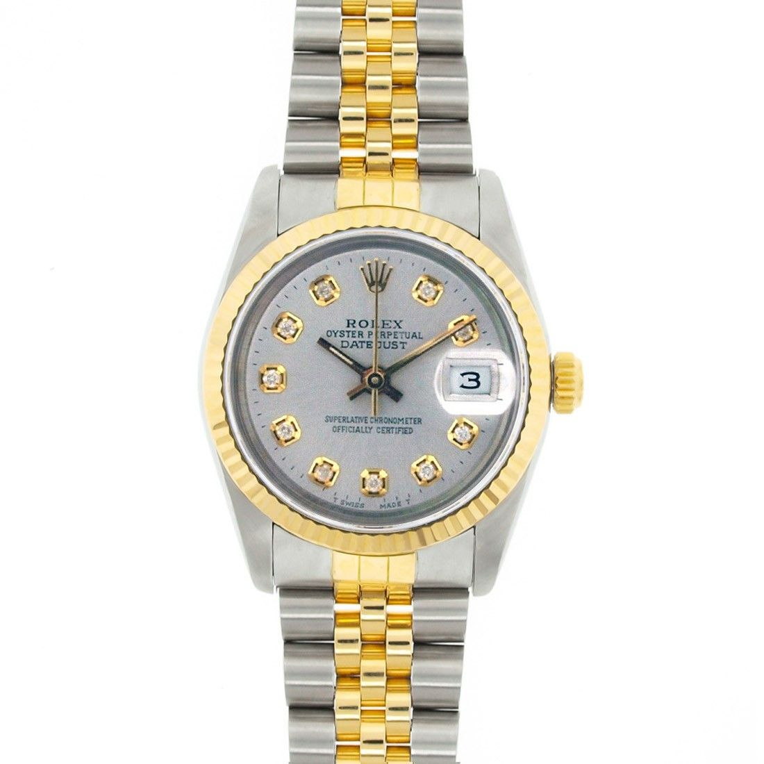 Pre Owned Rolex Mid Size S Stainless Steel 31mm Datejust With Black Dial With Luminous Hour Markers Models 179 Rolex Women Rolex Watches Women Pre Owned Rolex