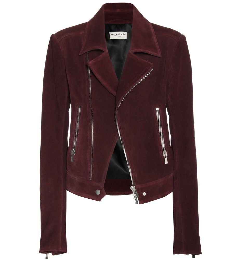 big sale 8cc39 82c53 Balenciaga - Bikerjacke Veloursleder - bordeauxrot | fashion ...