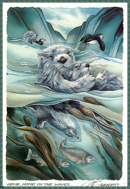 Jody Bergsma Otter art, Art, Animal paintings