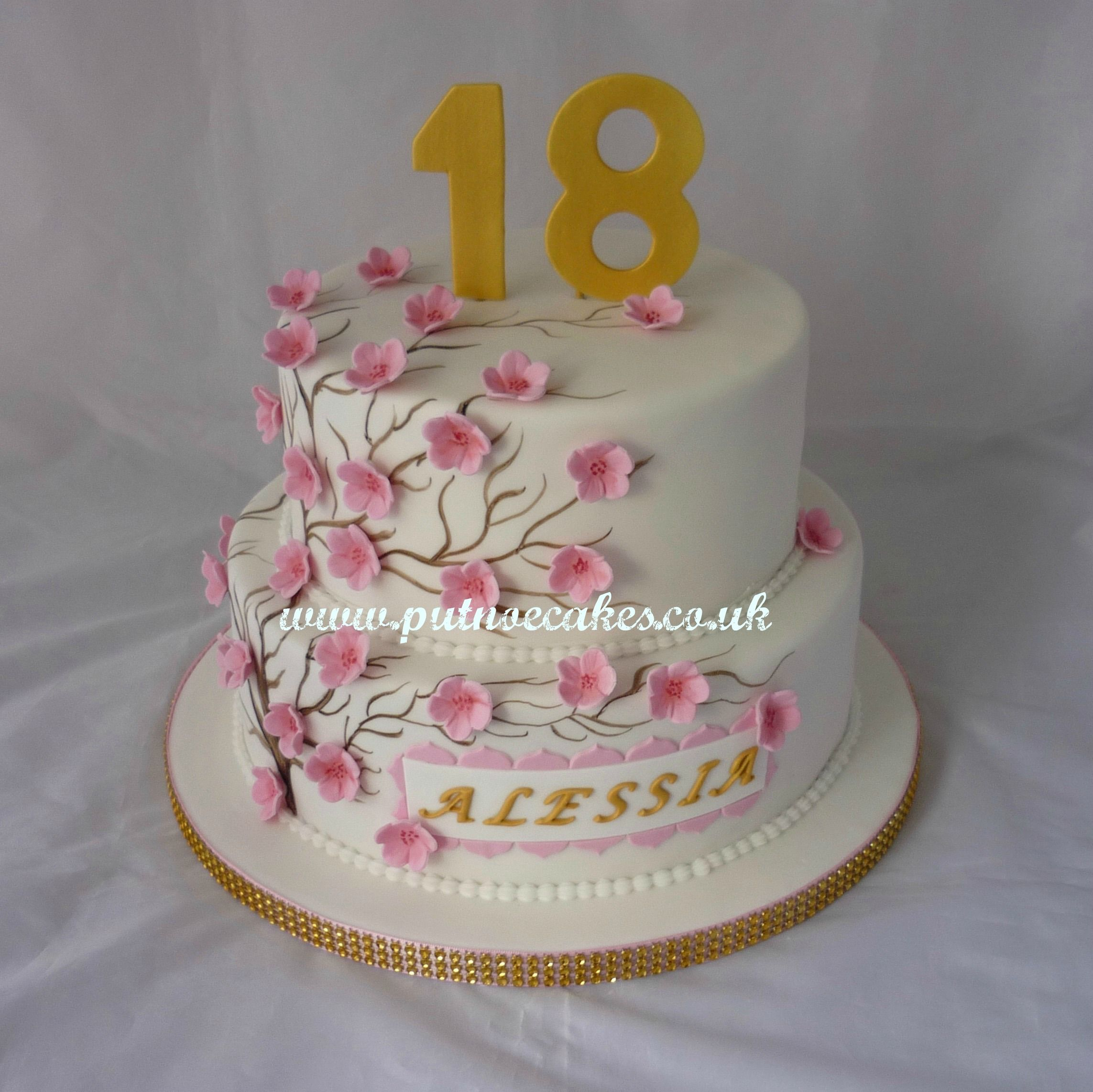 2 Tier Cherry Blossom 18th Birthday Cake Food In 2018 Pinterest