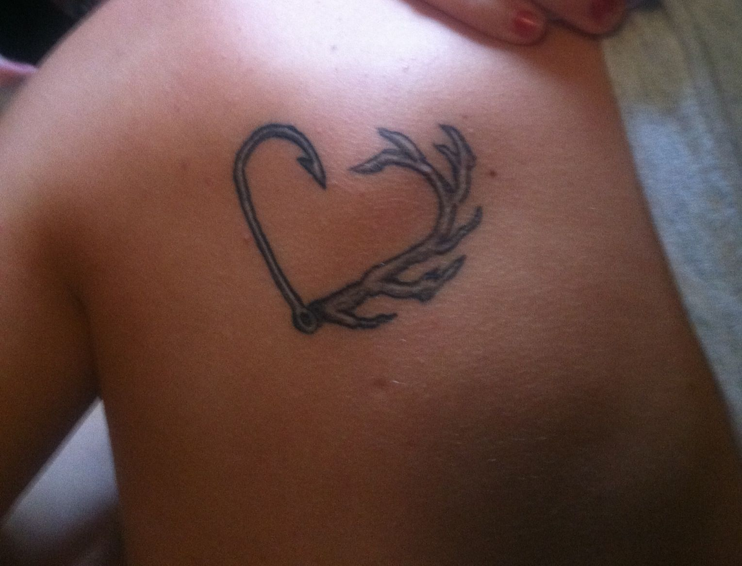 Fish Hook Deer Antler Tattoo Heart On The Shoulder