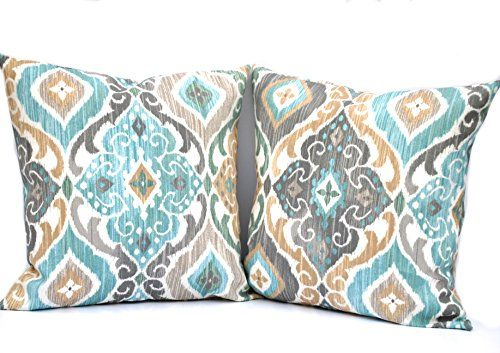 Two indoor/outdoor ikat print pillow cover, 16x16 cushion... http://a.co/bxO7PGl