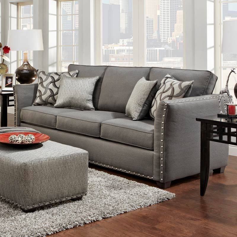 Technique Charcoal Gray Sofa With Nail | Furniture And Mattress Outlet