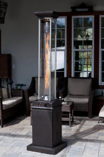 Fire Sense Square Flame Commercial BTU (Hammered Bronze) Quartz Glass Tube  Propane Patio Heater W/Wheels