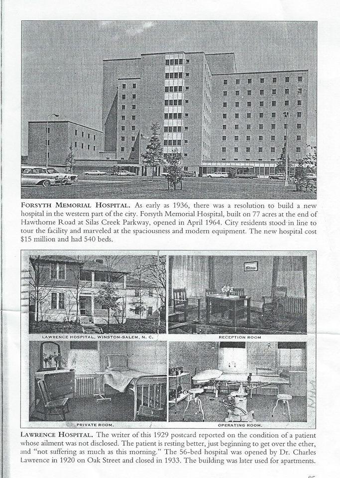 Hospitals in Winston | WINSTON-SALEM,NC HISTORY | Winston