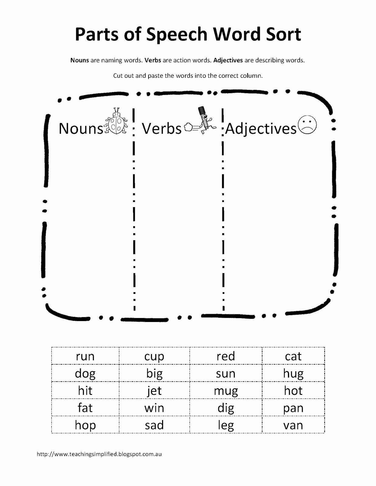 Verb Worksheets First Grade Parts Of Speech In